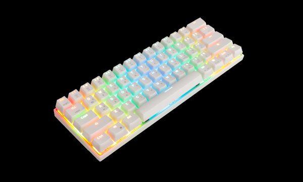 Біла клавіатура MOTOSPEED CK62 в три чверті